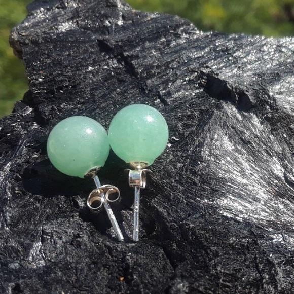 f585aa838 Jewelry | Sterling Silver Aventurine Jade Stud Earrings | Poshmark